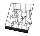 FixtureDisplays 4-Tiered Greeting Card Rack, 18' Wire Greeting Card Holder for Tabletop Use, 2.5' Open Shelves, with Header - Black 119362-Greeting Card