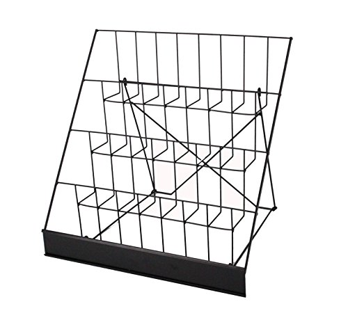 FixtureDisplays 4-Tiered Book Signing Rack, CD Display, 18' Wire Rack for Tabletop Use, 2.5' Open Shelves, with Header - Black 119362