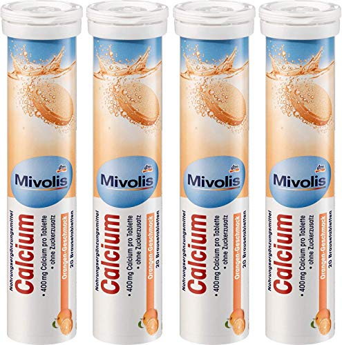 Mivolis Calcium effervescent Tablets - Dietary Supplements 4 Packs x 20 pcs | Germany