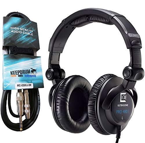 Ultrasone PRO480I studio-hoofdtelefoon gesloten + keepdrum verlengkabel 3m