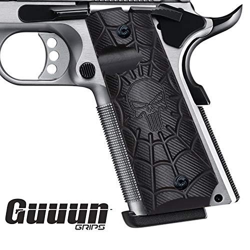 Guuun 1911 Gun Zubehör Full Size Pistolen-Hartschalenkoffer, Custom Cobweb Skull Texture G10 Material Ambi Safety Cut Gun Griff
