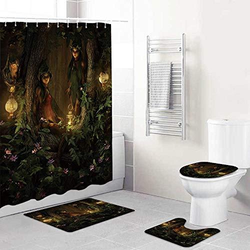 WINCAN 4-teiliges Fantasy Enchanted Jungle Elf Girl Ents Laternen Wildflower Print Duschvorhang-Set Badezimmer Anti-Rutsch-WC-Vorleger,Deckel WC-Abdeckung,Badematte,Duschvorhang mit 12 Haken