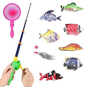Bageek Conjunto de Juguetes de Baño para Bebés Juguetes de Pesca Divertidos Juego de Juguetes de Ducha Magnética para Niños Pequeños