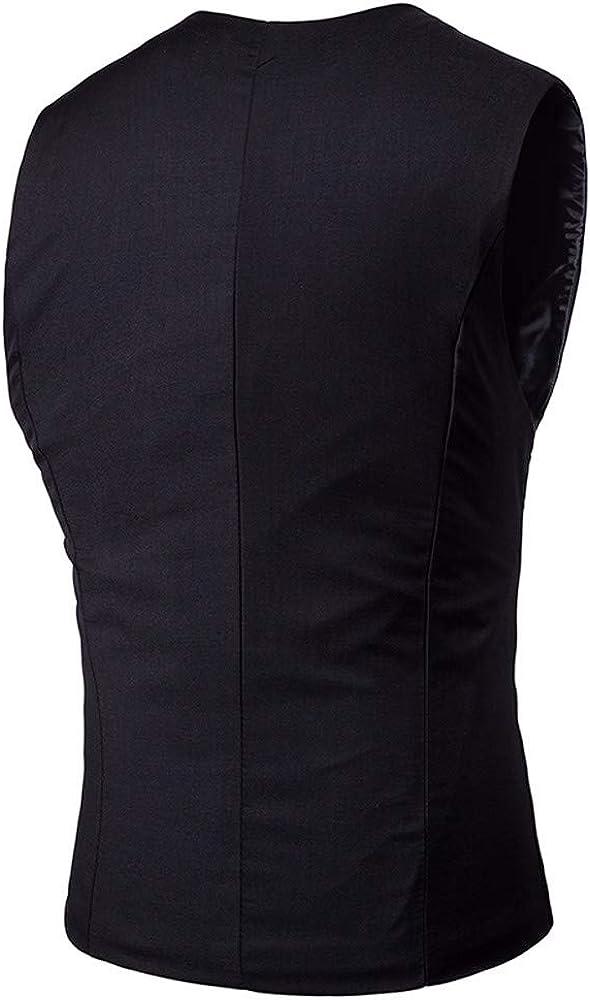 MODOQO Mens Waistcoat Suit Slim Fit Business Office Dress Vest for or Tuxedo Vest