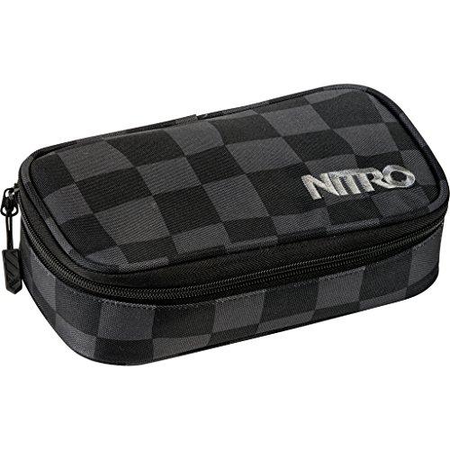Nitro Pencil Case XL inkl. Geo Dreieick & Stundenplan, Federmäppchen, Schlampermäppchen, Faulenzer Box, Federmappe, Stifte Etui,  Black Checker