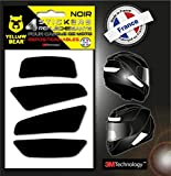 Yellow BearTM Easy Four TM, Kit 4 Stickers Retro réfléchissants REPOSITIONNABLES, pour Casque Moto, 3MTM Technology, Noir