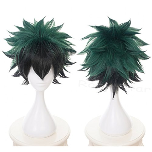 Ani·Lnc Anime Cosplay Wig Short Green Black Hair Synthetic Wigs with free Cap