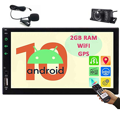 Android 10.0 Touchscreen Car Stereo with Bluetooth Double Din Car Radio 7 Inch Car GPS Navigation System in Dash Head Unit Support Bluetooth WiFi Mirror Link USB SD with Remote Control&Microphone