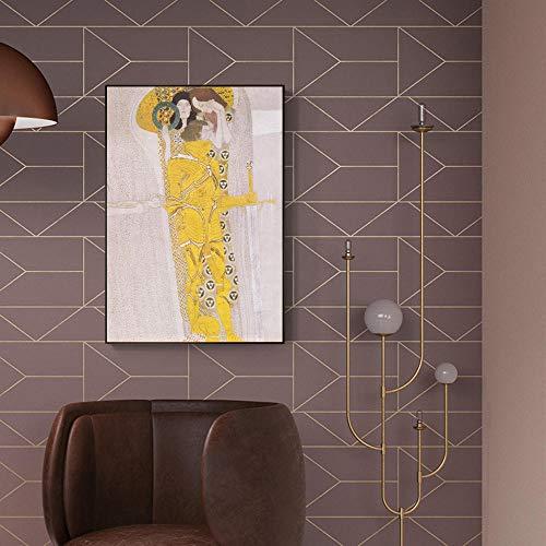WJY Fries Von Beethoven Gemälde An Der Wand Von Gustav Klimt Reproduktionen Wandkunst Leinwand Cuadros Bilder Für Wohnzimmer Decor 50cm x75cm Kein Rahmen