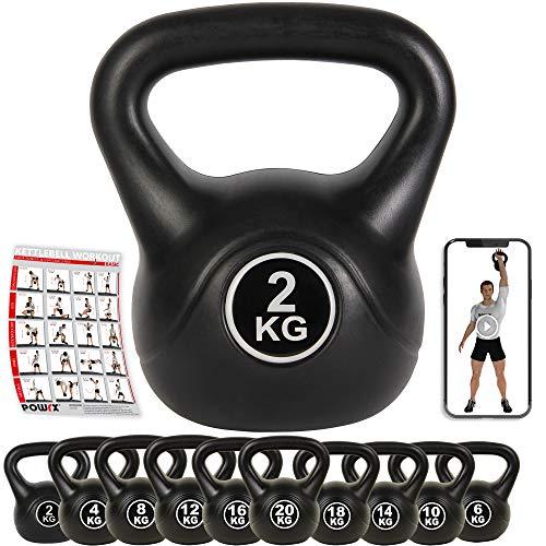POWRX Kettlebell Kugelhantel Kunststoff 2-20 kg inkl. Workout (2.00)
