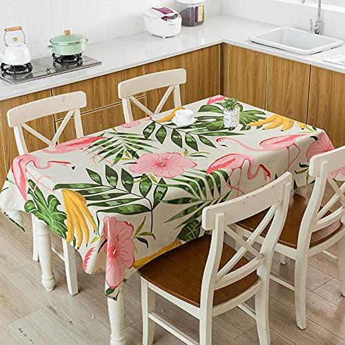 XXDD Hojas Verdes Tropicales Monstera Flamingo patrón Impermeable Mantel hogar Cocina decoración de Mesa Mantel A9 140x180cm