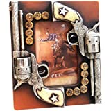 Rustic Western Themed Picture Frame 4' x 6 ' - Cowboy Old West Countertop Photo Holder - Double Six Shooters Guns Bullets Ammo Style Country Tabletop Frame
