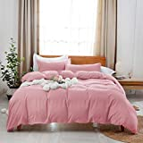 Uhsupris Washed Duvet Covers Full/Queen Size,3 Pieces Solid Color Pink Bedding Set Queen,100% Washed Microfiber,Breathable& Ultra Soft with Zipper & Corner Ties(Pink, Full/Queen(90'×90'))