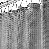 Duschvorhang für Badezimmer, Wellness, Hotel, luxuriös, Waffelgewebe, quadratisch, wasserabweisend, 183 x 183 cm, für dekorative Badezimmervorhänge