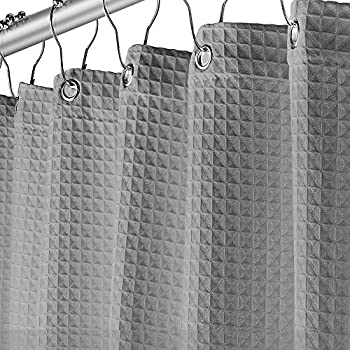 Fabric Grey Shower Curtain for Bathroom - Spa Hotel Luxury Waffle Weave Square Design Water Repellent 72  x 72  for Decorative Bathroom Curtains