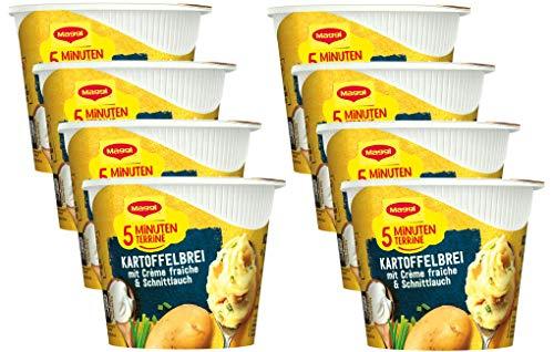 Maggi 5 Minuten Terrine Kartoffelbrei mit Creme fraiche, leckeres Fertiggericht, Instant Kartoffel-Püree, Kartoffel-Snack, 8er Pack (8 x 53g)
