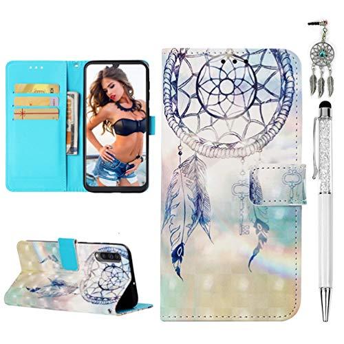 Funda para teléfono móvil A50 compatible con Samsung Galaxy A50, funda tipo cartera, de piel sintética, con patrón de pintura en 3D, funda para teléfono móvil con función atril y atrapasueños