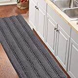 Bathroom Runner Rug Oversize Non-Slip Bathroom Rug Shag Shower Mat Extra Long Chenille Area Rug Grey Striped Bath Mat Runner Kitchen Rugs Washable Bath Mats for Bathroom, Gray, Size 59' x 20'