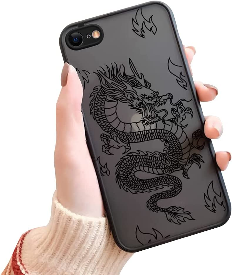 Ownest Compatible with iPhone 7/8/SE 2020 Case for Clear Fashion Animal Dragon Cartoon Pattern Frosted PC Back 3D and Soft TPU Bumper Silicone Protective Case for iPhone 7/8/SE 2020-Black-H