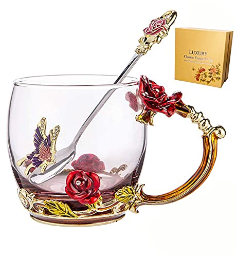 Tea Cup Coffee Mug Cups, Mother's Day Gifts, Hand Blown Crystal Glass Coffee Cup 11 oz Ideal for Friend Wedding Anniversary Christmas New Year Thanksgiving Birthday Presents