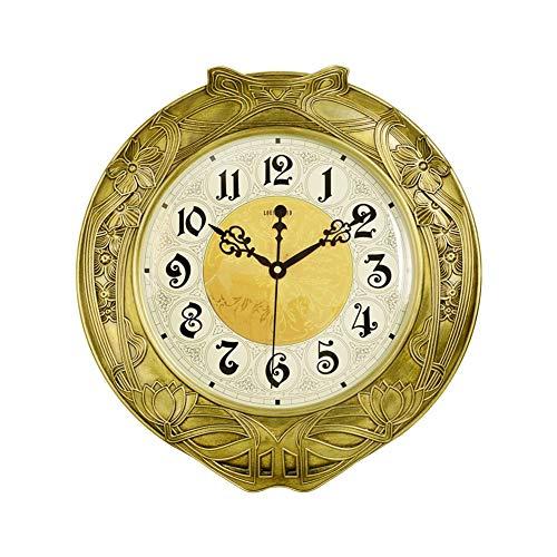 Klok Wall Clock Zuiver koper Room Modern Clock Mute Simple Quartz Klok met Grote Arabische cijfers alarm clock