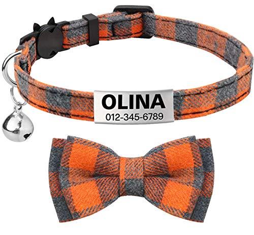 TagME Collar de Gato Personalizado, con Placa de Identificación Personalizable y Hebilla de Liberación Rápida Corbata de Moño Collar de Gato, 1 Paquete Naranja