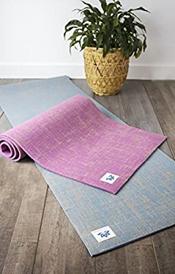 "Lottus Life Natural Jute Fiber Premium Yoga & Exercise Mat with Strap Extra Thick 8mm Mat - Eco-Friendly - Extra Long 72"" - Unique Designer Colors – Memory Foam-Like (Pomegranate Pink)"