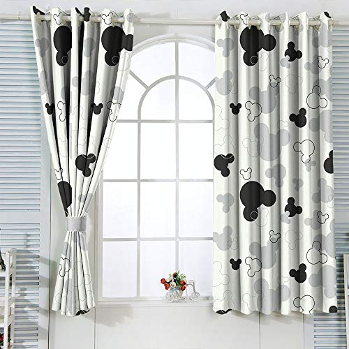 Decorative Curtains Mic-Key Min-nie Mouse Curtains for Child Living Room Blackout Window Curtain W42 x L54 Inch