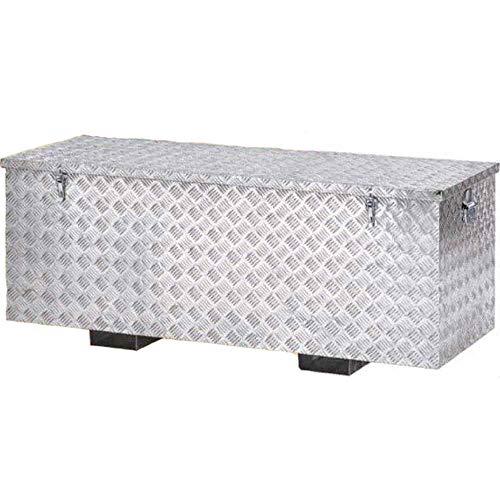 BAU50F Aufbewahrungsbox aus leichtem Aluminium mit Deckel 140 x 53 x H 50 cm Koffer Werkzeugkoffer wasserdicht stapelbar mit abschließbaren Scharnieren