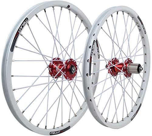 YZU Rueda de bicicleta BMX grande plegable de 20 pulgadas con llanta de aleación de liberación rápida delantera 2 trasera 4 palin 32H 8 9 10 velocidades, color blanco, 20 pulgadas