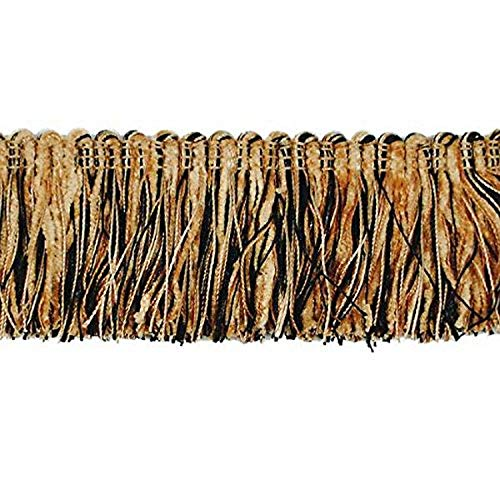 Expo International Chenille Fiber Brush Fringe Trim Embellishment, 20-Yard, Black/Gold