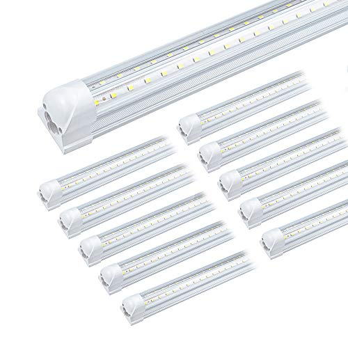 5ft LED Shop Light Fixture, Linkable 6000K Daylight White Tube Light, High Output, Double Sided V Shape T8 Integrated 5 Foot Led Bulbs for Garage,Warehouse,Clear Lens 10-Pack