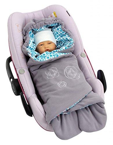 ByBoom - Baby Einschlagdecke für die Übergangszeit und Sommer mit Muster, für Babyschale, Autokindersitz, z.B. für Maxi-Cosi, Römer, für Kinderwagen, Buggy, Babytrage, z.B. Manduca oder Babybett