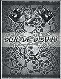 bloc de dibujo: Un gran cuaderno de bocetos cuadrado para los amantes de los artistas del tatuaje, con páginas en blanco para tatuadores profesionales ... dibujar, dibujar y grabar tatuajes creativos.