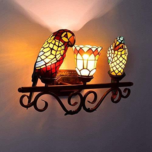 Sconce wandlamp retro papegaai gekleurd glas badkamer spiegel koplampen klassieke romantische gang bar restaurant drie muur lamp binnenverlichting wandlampen