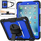 "SEYMAC Stock iPad Air 3 Case, Shockproof [Full-Body] Armor Case with 360 Rotating Stand [Pencil Holder] [Screen Protector] Hand Strap for iPad Air 3 10.5""2019/ iPad Pro 10.5 2017(Blue+Black)"