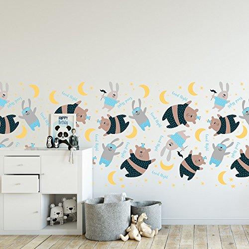 wall art 120x60 cm - SM0007 Protection Contre Les éclaboussures, Effet Tissu, Lavable, repositionnable. Chambre de décoration. Stickers muraux pour Enfants Bande l'ours au Pyjama
