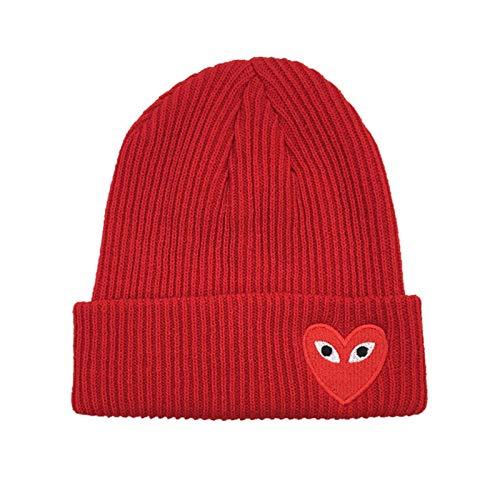 YQHWLKJ Señoras niña Beanie Hat Amor Bordado Crochet al Aire Libre Todo fósforo Sombrero de Calavera Unisex otoño Sombrero de Punto para niños