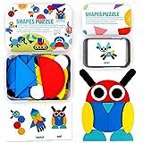 Tangram de Madera swonuk Puzzles de Madera Bloques Animal Educativos Montessori Juguetes para Niños Infantil, 36 Rompecabezas de Madera + 60 Piezas Tarjetas de diseño