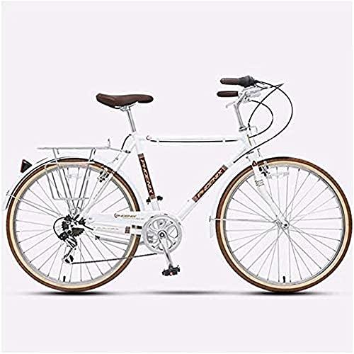 MOME CRoad Bicicleta de carretera retro para mujer, acero al carbono, 7 velocidades, liberación rápida, dos frenos en V, manillar ergonómico y estético, de piel sintética impermeable