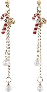 Zentto Mujeres Conjunto de Pendientes de Colgante de Gota de Tema de Navidad Adornos Navideños Aleación Simple Navidad Pendientes De Perla