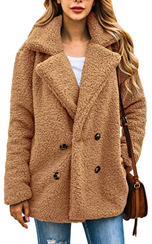 ECOWISH Damen Mantel Casual Revers Fleece Fuzzy Faux Shearling Reißverschluss Warm Winter Oversize Outwear Jacken, Kamel, EU L(40)