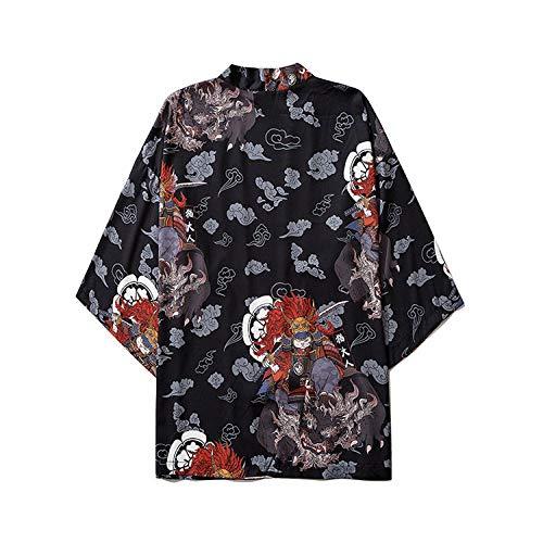 LIGUANGWEN Primavera Y Verano Nuevos Kimono Kimono Gato Adulto De Dibujos Animados Japoneses Mangas De Tres Cuartos Pierden Hanfu Ningún Botón Capa Chaqueta Azul (Color : Black, Size : XL)