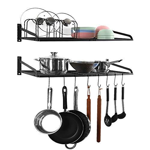 Kitchen Pan Storage Rack, 2-Tier Hanging Shelf Pot and Pan Wall Mounted Cookware Organiser Black Metal with 10 S Hooks
