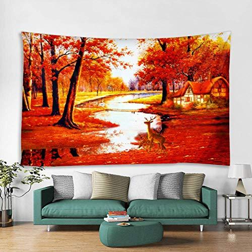 KWYAN Herbst Ahorn Hain Creek Cottage Kitz Muster Polyester Wandbehang Mandala Tapisserie Yoga Schal Matte 130cmx150cm