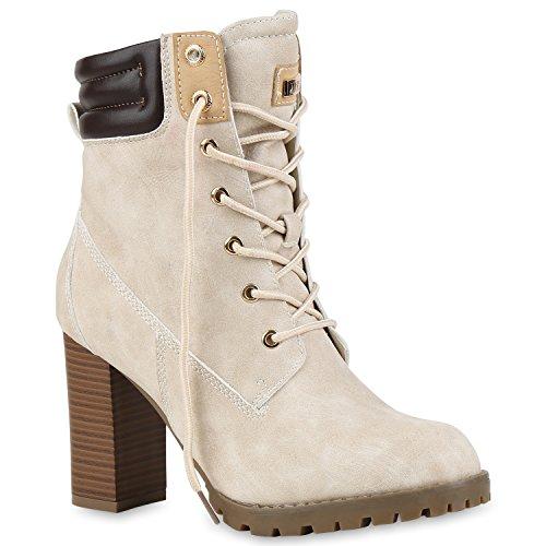 Damen Schnürstiefeletten Stiefeletten Worker Boots Wildleder-OptikHalbhohe Stiefel Schnürer Wildleder-Optik Schuhe 122664 Nude 39 Flandell