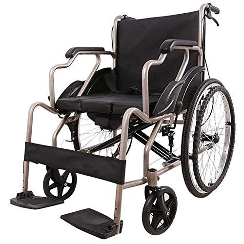 JLKDF Lega di Alluminio Leggero Leggero di Fascia Alta Compatto Secondo Viaggio Manuale Pieghevole per utenti Anziani, portatori di Handicap e disabili può sopportare 100 kg/220 libbre