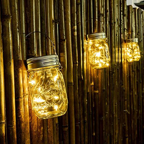 GIGALUMI Lampade a sospensione in vetro per barattoli di vetro, confezione da 6 luci a forma di stella, lanterne solari, lampade da tavolo, 6 appendini e barattoli inclusi
