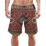 Ye Hua Perserteppich, Tribal Retro Texture Herren Badehose Sommer 3D-Druck Grafik Casual Athletic Swimming Kurze Hose XL