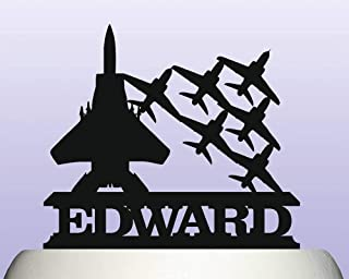 Personalised Acrylic Air Force Military Fighter Plane Escort Cake Topper Decoration